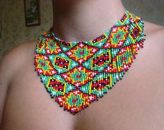 Items similar to Red green christmas necklace Ethnic beaded necklace Fringe necklace Gift for mom Holiday jewelry Geometric necklace Rhombus necklace on Etsy Fringe Necklace, Seed Bead Necklace, Seed Beads, Beaded Necklace, Necklaces, Geometric Necklace, Geometric Jewelry, Jewelry Crafts, Handmade Jewelry