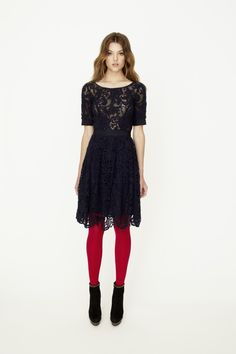 Black lace with red tights