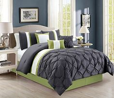 modern 7 piece bedding grey sage green white stripe pinch pleat california