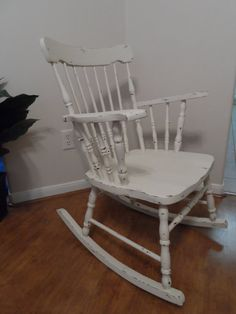 Vintage Shabby Cottage Chic Wooden Rocking Chair Off White on Etsy, $125.00
