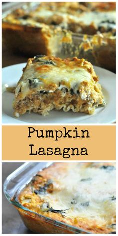 Pumpkin Lasagna - Dining with Alice This Pumpkin lasagna is easy to make and filled with all the great flavors of fall. Stuffed with cheese, spinach, pumpkin and creamy alfredo. Vegetarian Recipes, Cooking Recipes, Healthy Recipes, What's Cooking, Fall Recipes, Holiday Recipes, Pumpkin Dinner Recipes, Pumpkin Dishes, Holiday Foods