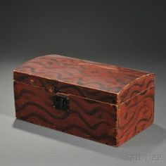 Small Paint-decorated Pine Dome-top Document Box