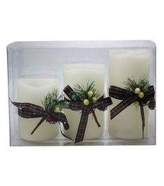 Maker's Holiday 3ct LED Pillar Candles with Timer-Ivory