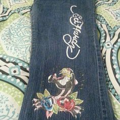 Denim Ed hardy jeans slight inside wear at bottom as shown in picture but still some good wear left Ed Hardy Pants