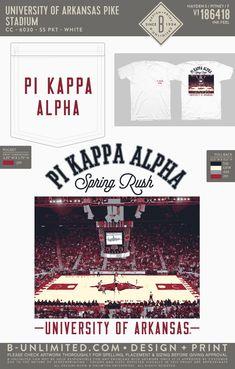Pi Kappa Alpha Rush Shirt   Fraternity Event   Greek Event #pikappaalpha #pike #pka #arkansas #razorbacks Pi Kappa Alpha, Rush Shirts, University Of Arkansas, Basketball Shirts, Arkansas Razorbacks, Greek Clothing, Greek Life, Fraternity, Design