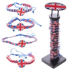 Union Jack UK Flag Braided Bracelets - 96pcs with Display - 10085 | Puckator