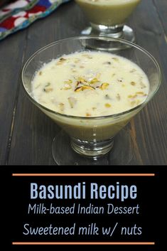 This is the BEST basundi recipe you'll get around the internet. It is super creamy, rich, perfectly sweet with the crunch of nuts in every spoon. A perfect festive dessert that not to be missed. This Indian dessert is served with puffed puri along with the meal (feast thali). To learn how to make Gujarati sweet basundi with step by step photos hop over to the blogpost. Diwali Snacks, Diwali Food, Diwali Recipes, Indian Desserts, Indian Sweets, Indian Food Recipes, Gujarati Recipes, Savoury Dishes, Curry Recipes