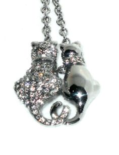 Two Cats snuggle Pendant with White Austrian Crystals  #Unbranded #Pendant http://stores.ebay.com/JEWELRY-AND-GIFTS-BY-ALICE-AND-ANN