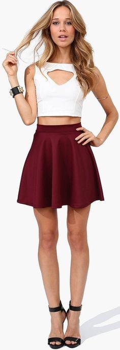 Rad Skater Skirt in Burgundy - Necessary Clothing - Cute Outfits - Burgundy Skater Skirt, Maroon Skirt, Skirt Outfits, Cute Outfits, Trendy Outfits, Fashion Outfits, Womens Fashion, Fashion Trends, Fashion Hair