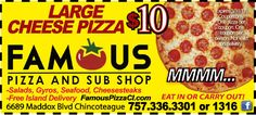 Who doesn't love pizza? $10 Large Cheese Pizza with your Frugals coupon at Famous Pizza in Chincoteague, VA.  PLUS, Free Island Delivery!  www.frugals.biz ; www.famouspizzaci.com