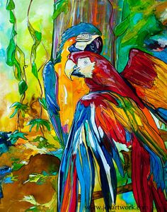 """Parrot Canvas Art by Jen Callahan 22"""" x 32"""" ready to hang gallery sides on Etsy, $325.00"""