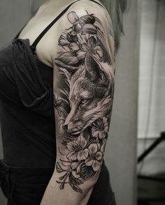 Fuchs Tattoo am Ärmel - Tattoos & Tattoo Zeichnungen - Tattoo Trendy Tattoos, Unique Tattoos, Cute Tattoos, Beautiful Tattoos, Body Art Tattoos, Tattoos For Guys, Fox Tattoos, Fox Tattoo Men, Raven Tattoo
