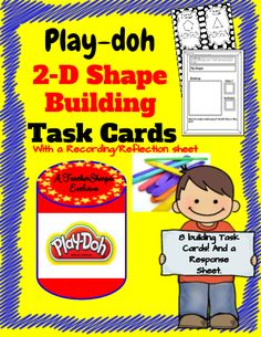 2-Dimensional Figures Building Challenge Task Cards - Challenge your students to use Play-doh and popsicle sticks to build 2-Dimensional Shapes! There is a reflection sheet included so that students can draw and discuss the shape they built! Task cards that can be placed on desks or in pocket charts. There are 8 total 2-D shapes to build in this set! Great for centers, too! #teachersherpa