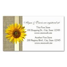 Burlap and sunflower Bridal Registry Card Business Cards. This is a fully customizable business card and available on several paper types for your needs. You can upload your own image or use the image as is. Just click this template to get started!