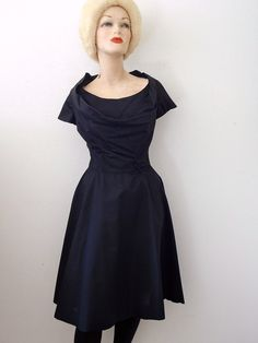 1950s Party Dress / black bombshell shirtwaist / vintage cocktail attire