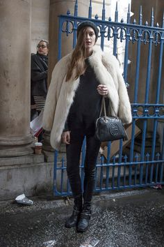 Nice cozy fur and a Gucci bag. #offduty #LFW
