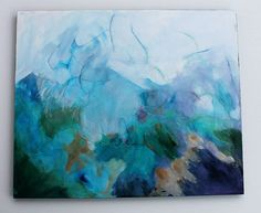 "Abstract Painting Acrylic Landscape Modern Art ""I Dearly Love the Mountain"". $150.00, via Etsy."
