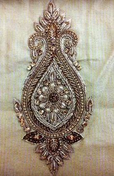 Zardozi on Behance Zardosi Embroidery, Hand Embroidery Dress, Tambour Embroidery, Couture Embroidery, Embroidery Motifs, Indian Embroidery, Gold Embroidery, Embroidery Fashion, Hand Embroidery Designs