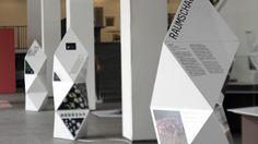 """Exhibition Design for """"Architekturteilchen"""" museum wayfinding Bühnen Design, Design Studio, Display Design, Booth Design, Exhibition Stand Design, Exhibition Display, Exhibition Space, Web Banner Design, Wayfinding Signage"""
