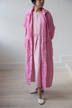Ichi Antiquites Pink Linen Gather Dress Dress Outfits, Kids Outfits, Number 10, Children Clothes, Frocks, Linens, Beautiful Dresses, Shabby Chic, Street Style