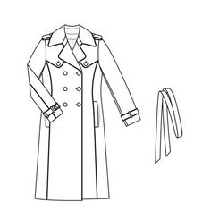 Burdastyle 11-2012-117, 118 Trench Coat with contrast piping and asymmetrical back flap