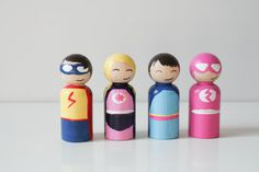 Four Mini Girl Superhero Peg People Four Hand Painted por Pegtales