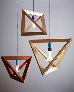 Angular wooden geometric lighting fixtures.