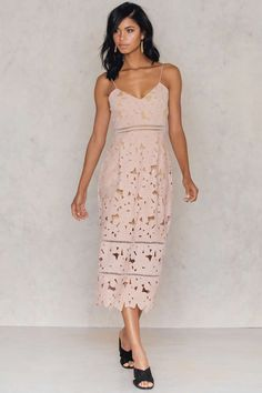 Na-Kd Floral Crochet Summer Occasion Holiday Party Cocktail Midi Dress