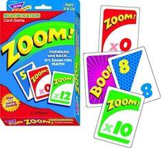 It's the math game with a forward/backward twist! In Zoom?ʆ¢ players add cards while watching out for wild cards that can send their scores zooming forward, backward, or stall a turn. Helps to build m Math Games For Kids, Math Activities, Kids Fun, Kids Math, Fun Games, Math Tutor, Teaching Math, Fourth Grade Math, Math Multiplication