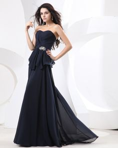 osell wholesale dropship Sweet Ruffle Beading Chiffon Strapless Floor Length Evening Prom Dresses $79.28