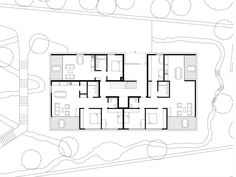 Dietrich | Untertrifaller Architekten Apartment Projects, Apartment Layout, Architecture Plan, Residential Architecture, Hospital Floor Plan, Landscape Planner, Architectural Floor Plans, Rental Apartments, Ground Floor