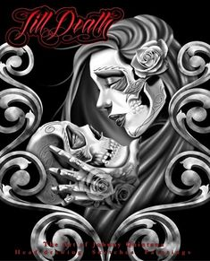 Till Death Tattoo Flash Book 53 Pages Head Drawing Techniques Design Supply on PopScreen Jj Tattoos, Chicano Art Tattoos, Tribute Tattoos, Body Art Tattoos, Chicano Drawings, Skull Girl Tattoo, Sugar Skull Tattoos, Sugar Skull Art, Sugar Skulls