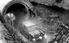3 cars destroyed in the sewers of Coventry while trying to perform a full loop for the Italian job film Mini Cooper Clubman, Mini Cooper S, Classic Mini, Classic Cars, The Italian Job, Coventry City, Bike Engine, English Style, Great Movies