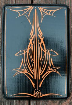Black Wooden Plaque Orange Pinstriping Spiderweb Rockabilly Home Decor by TheRebelsReverie on Etsy