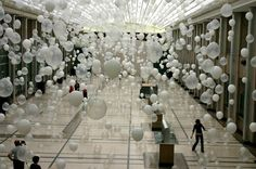Scattered Crowd White Balloons Art Installation