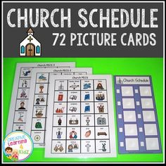 Church Schedule with 72 PECSThese are wonderful church related PECS to use with any child, especially the visual child. These can be used to create a schedule, give visual cues, and teach about the church. The schedule has small boxes beside each PECS space.