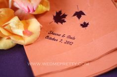 fall-wedding-napkins see complete beautiful Fall Wedding Coordinated by Veronica, here Enjoy http://www.wedmepretty.com/sheena-dales-fall-wedding-real-wedding/
