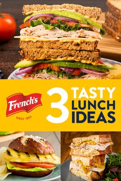 Tired of the same boring lunch everyday? Switch things up with these three tasty sandwiches featuring everyone's favorite condiment: mustard! Easy Healthy Meal Prep, Dinner Recipes Easy Quick, Easy Healthy Recipes, Quick Easy Meals, Lunch Recipes, Healthy Eating, Cooking Recipes, Yummy Appetizers, Appetizer Recipes
