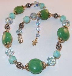 Vtg Signed Vendome Swarovski Crystal Green Bakelite Rhinestone Beads Necklace | eBay