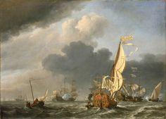 Willem van de Velde de Jonge - Statenjacht in een frisse wind vaart naar een groep van Nederlandse schepen (1673)