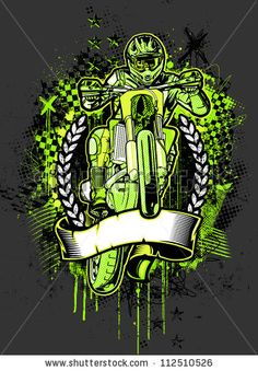 MotoCross Grunge. Vector illustration of an adult motocross rider jumping high in the air over checkered flags, crosses, scribbles, halftone patterns, textures, and paint splatter design elements.
