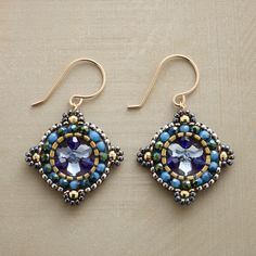 """AEGINA EARRINGS--Swarovski crystals, blue hydro quartz and Japanese glass beads weave seaborne hues with 18kt vermeil beads and 14kt gold filled accents. 14kt gold filled French wires. Sundance exclusive. 1-1/2""""L."""