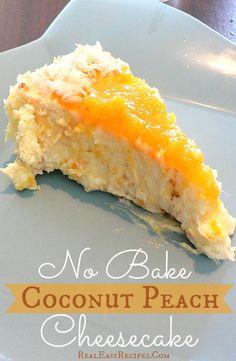 No Bake Coconut Peach Cheesecake | http://realeasyrecipes.com | #cheesecake #recipe