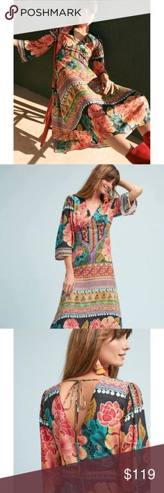 Anthropologie Boho printed Rio Rosario Maxi Dress What began as a handful of goods at a local fashion fair booth has grown into one of Brazil's most recognizable labels for sun-soaked dressing. With vibrant colors, bold silhouettes and feminine details embedded in every design, Farm Rio's cheerful creations are crafted with an exotic, toes-in-the-sand spirit that's simultaneously fashion-forward and vintage-inspired.  Hide. Viscose. Maxi silhouette. Bell sleeves.  Tie closure. Machine wash…