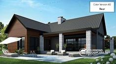 CHARMING MODERN RUSTIC COTTAGE HOUSE PLAM Scandinavian style bungalow, cathedral ceiling w/exposed wood beams, open floor plan, outdoor kitchen (# 3992) http://www.drummondhouseplans.com/house-plan-detail/info/olympe-scandinavian-1003208.html