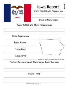 Learn about Iowa's population, major cities, state bird, flag and fun facts with this printable state report.