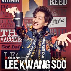 """The popular Lee Kwang Soo is the newest face and representative for """"dal. The coffee brand announced the news of Lee Kwang Soo being selected as their newest model with his first few promotional pictures. Ji Suk Jin, Yoo Jae Suk, Korean Drama Stars, Korean Star, Asian Actors, Korean Actors, Korean Idols, Lee Kwangsoo, Running Man Korea"""
