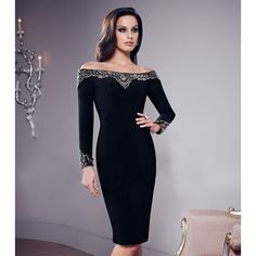 Katharyn' Long Sleeve Two Piece Beaded High End Bandage Dress ...