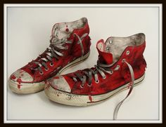 Custom Made Bloody Red ZOMBIE SHOES vintage Chucks Converse All Stars Hi Tops mens 10 womens 12 by wardrobetheglobe on etsy, $48.00