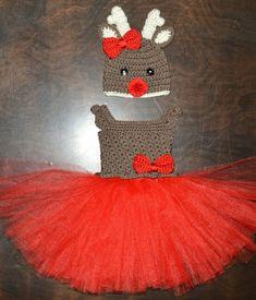 ce0dd3d42a9 Christmas Reindeer Hat   Matching Tutu Dress Rudolph Handmade Crochet Baby  Beanie Hat Photo Prop Cus